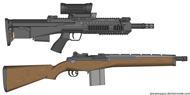 Bullpup M14 | got inspired to make a carbine version of a ... M14 Bullpup