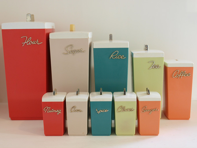 vintage retro 60s kitchen canisters