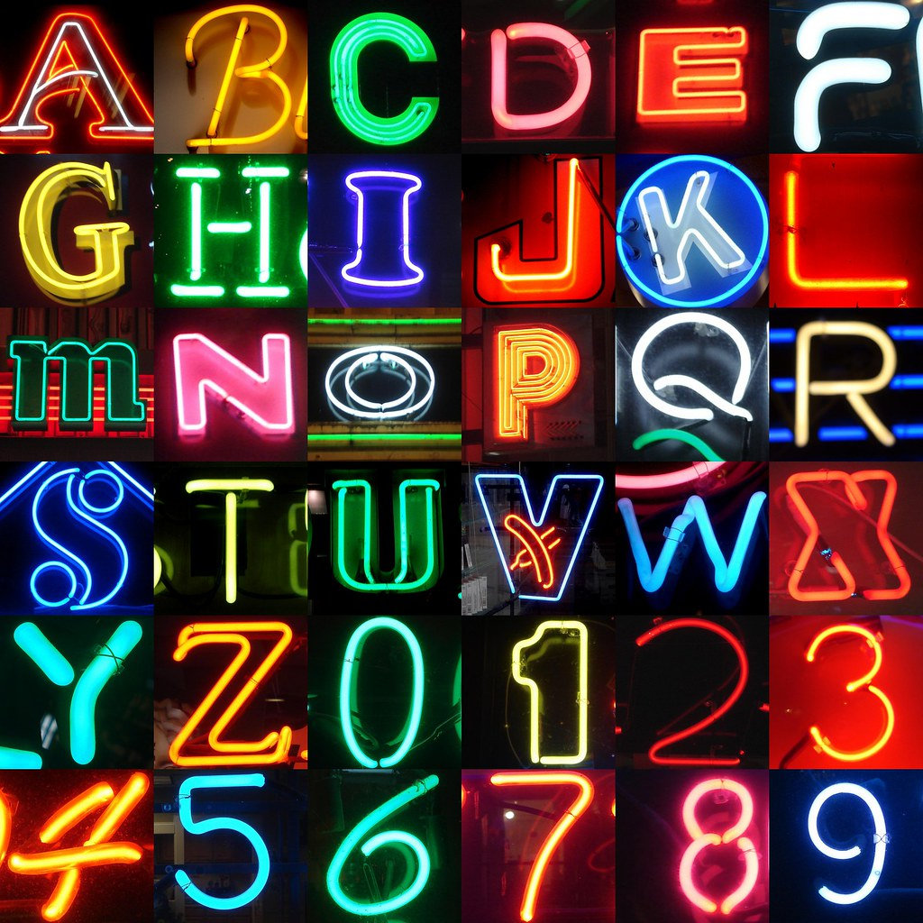 Neon Letters And Numbers