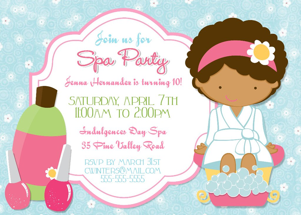 Spa Party Birthday Party Invitation | BearRiverPhotoGreetings | Flickr