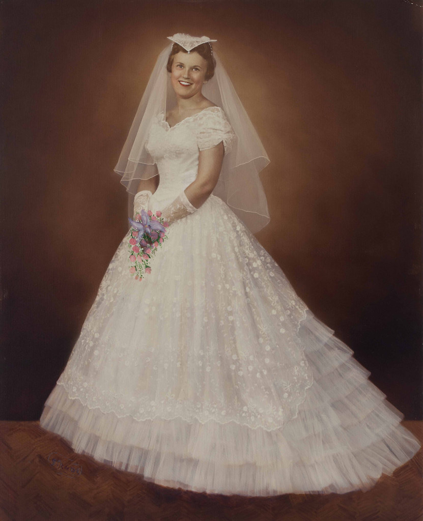 1950s Wedding: 1950s Hand Tinted Print Of A Bride In Her Wedding Dress, P