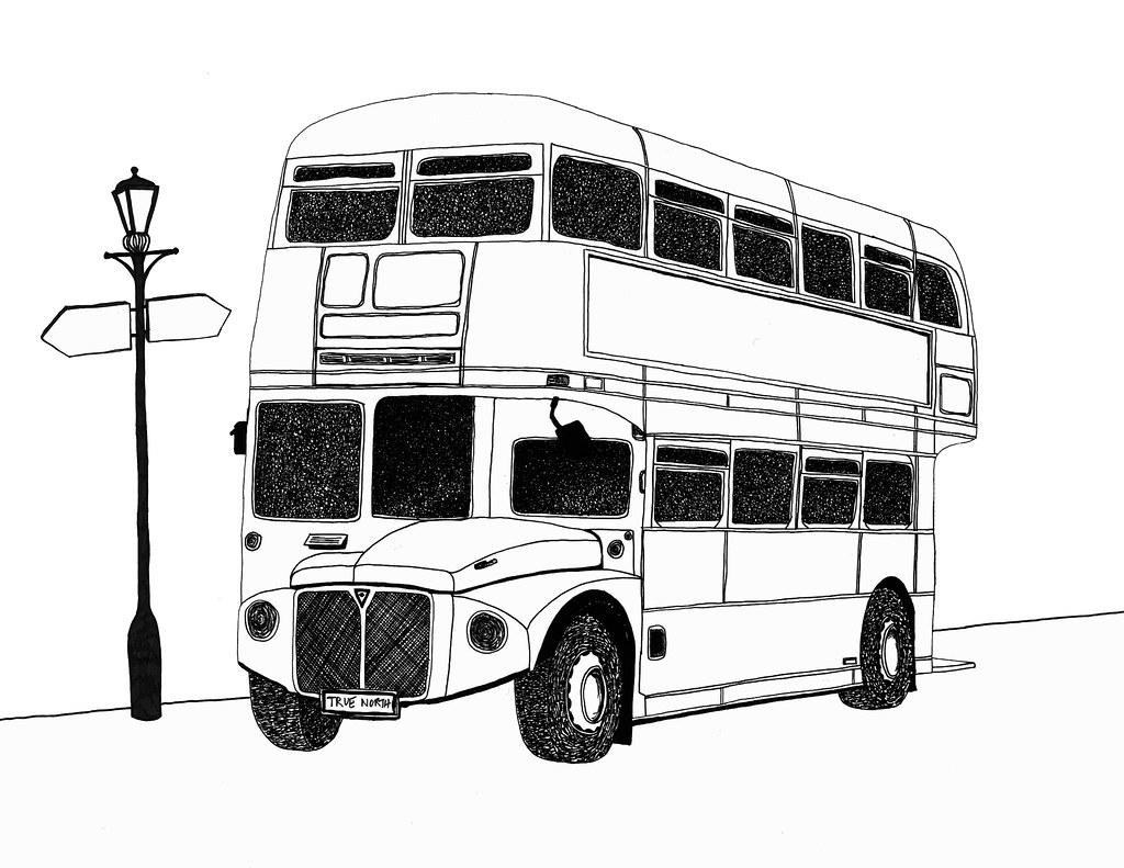 Line Drawing Bus : London bus pen drawing by michael levi pentel