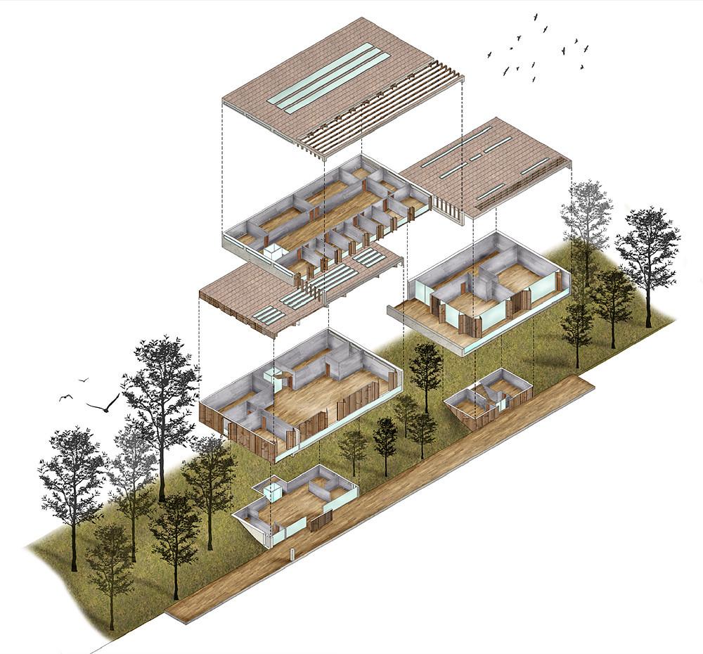 Ba2 architecture youth centre axonometric by enrico for Architektur axonometrie