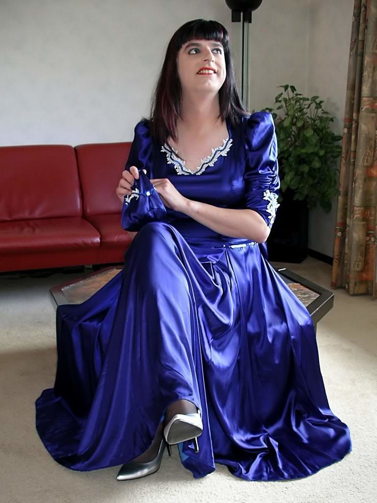 Blue satin gown | I feel divine in my blue satin gown with ...
