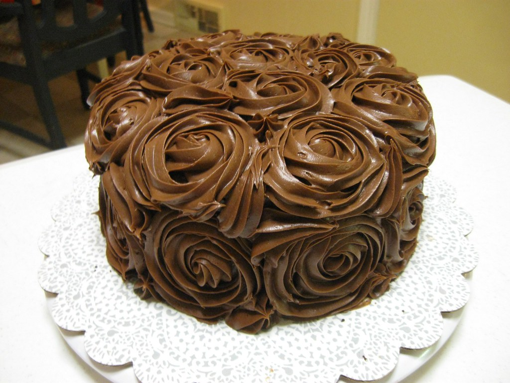 Rose cake | My mom's birthday cake -- chocolate avocado ...
