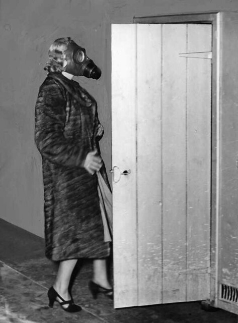 Woman in gas mask during World War II | From the Argus ...