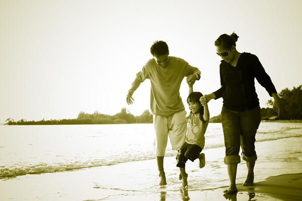 Familia na praia