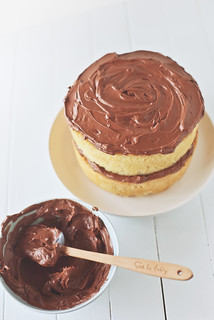 brown butter cake with cinnamon chocolate frosting. | by hannah * honey & jam