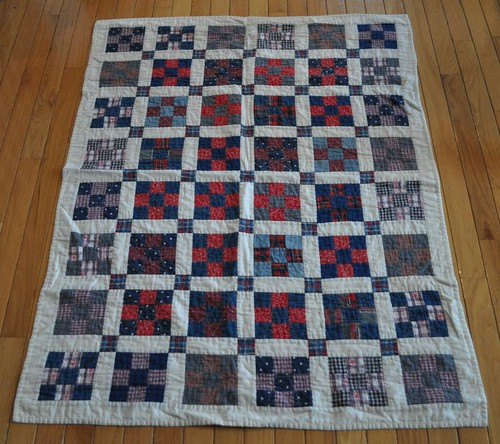 red/blue 9-patch baby quilt | by vickivictoria
