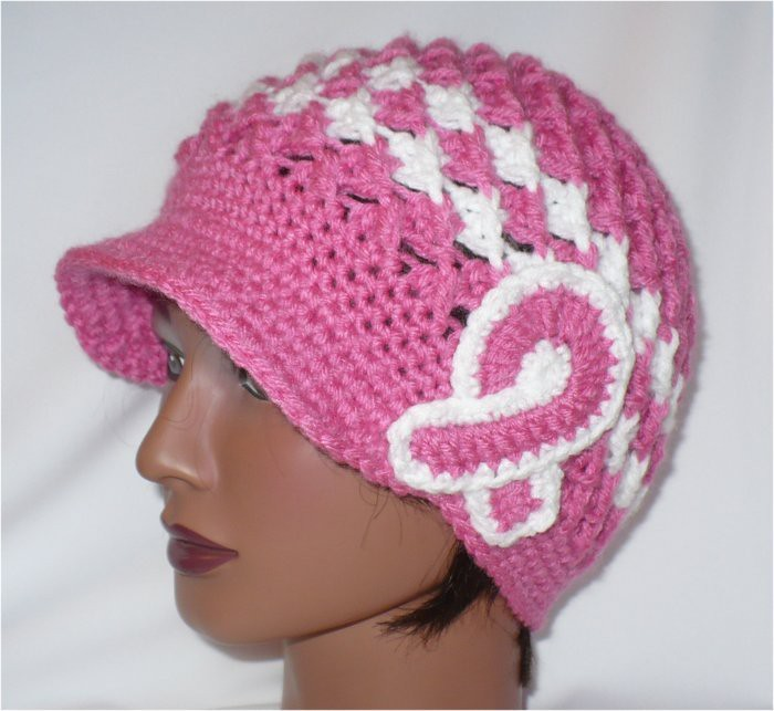 Knitting Patterns For Cancer Beanies : Crochet Brim Hat- Breast Cancer awareness Pink Crochet Pin? Flickr