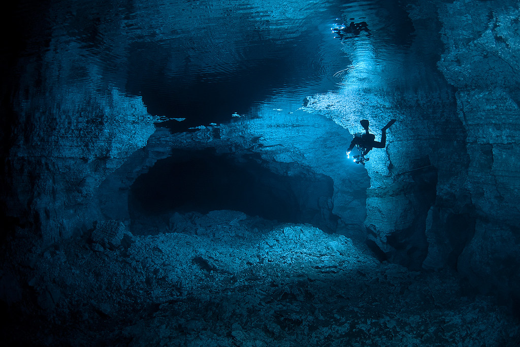 Beautiful underwater cave of Orda in Russia