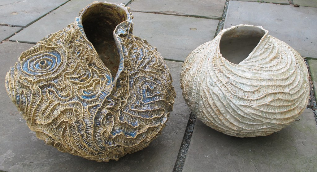 Handbuilt Vases With Coil Textures Paper Clay Cone 10