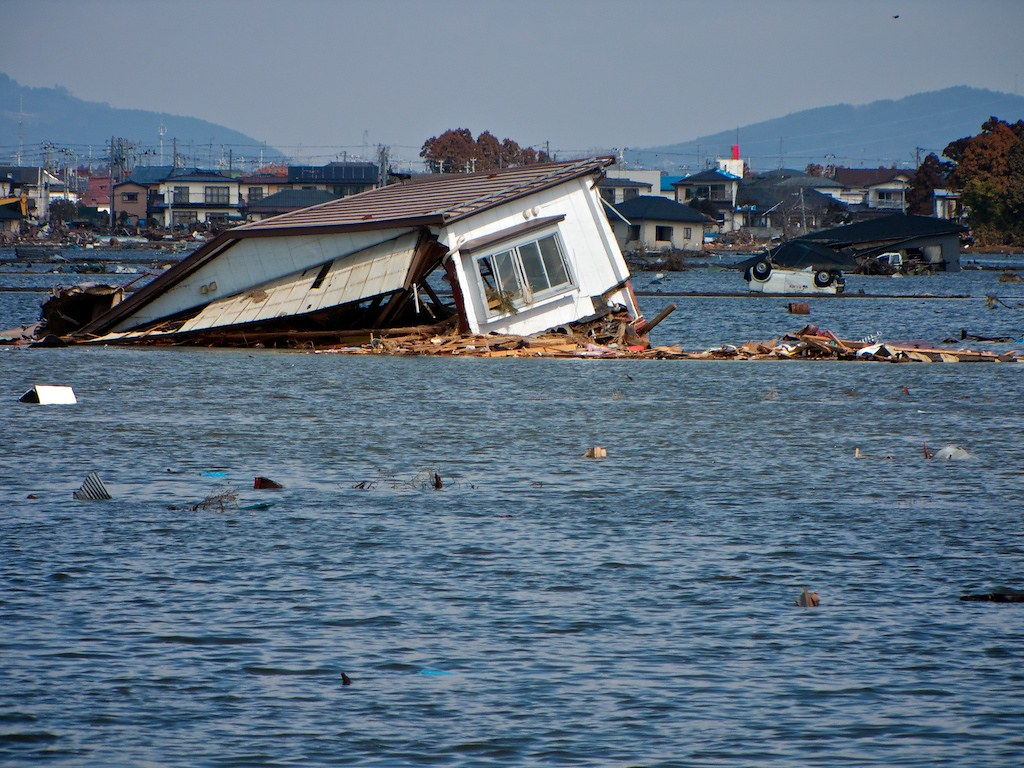 Tsunami Destruction Destroyed House in the...