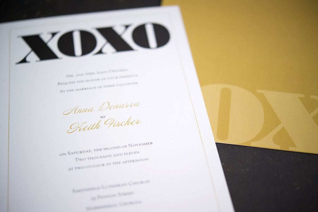 Vistaprint Invitations Wedding: Vistaprint Wedding Invitation - Black/Gold XOXO #3