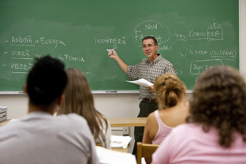 Prof. Joseph Falvo teaching Italian to one of his classes. | by University of Maryland, College Park