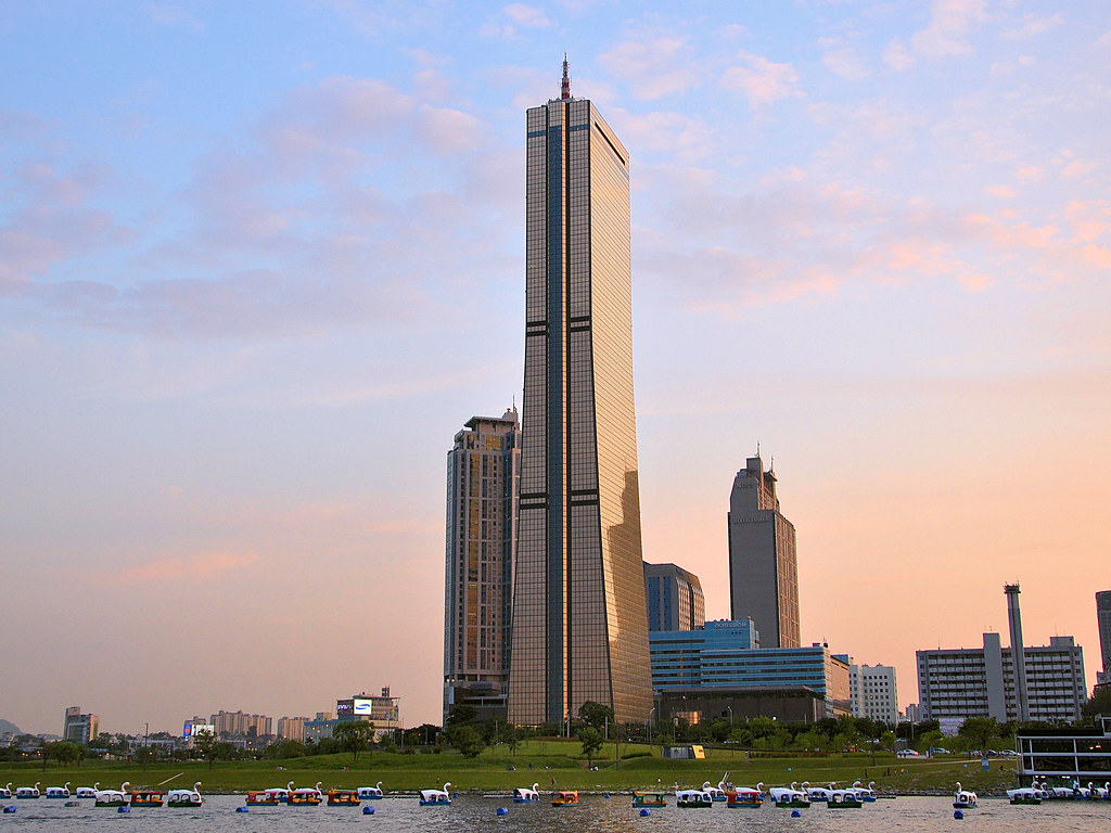 63 Story Building From The Han River Seoul Korea This