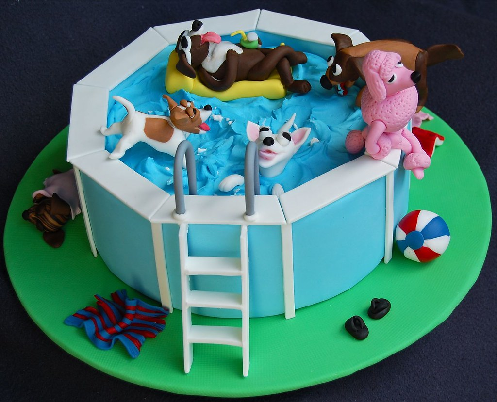 Dog Pool Party Cake Big Dogs Little Dogs Dogs In The