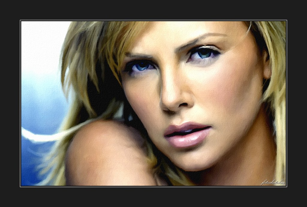 FotoSketcher - Charlize Theron | Painting of South African a ...
