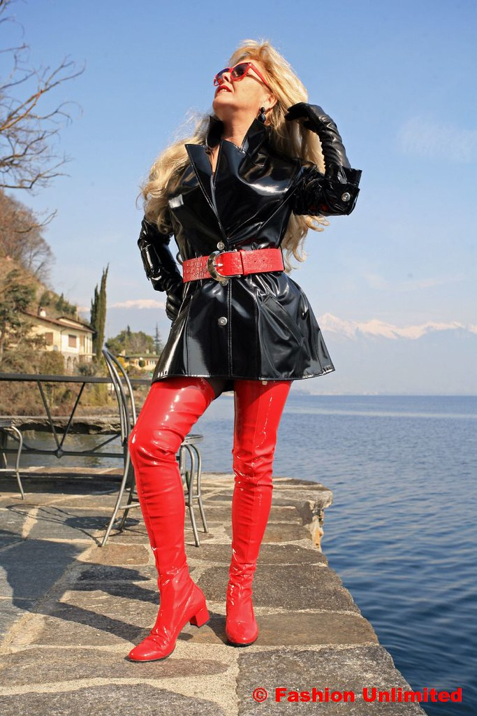 60s Red Patent Thigh Boots By Miceli