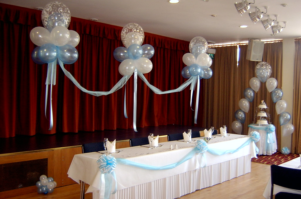 Balloon decorations for the top table and cake table held flickr