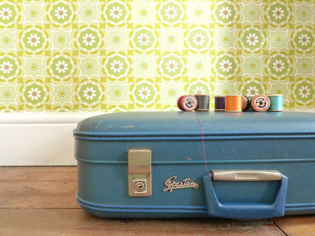 Red Vintage Suitcase Vintage Suitcase   by
