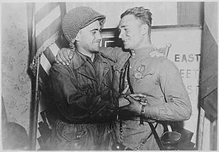 Happy 2nd Lieutenant William Robertson and Lt. Alexander Sylvashko, Russian Army...:; 04/25/1945 | by The U.S. National Archives