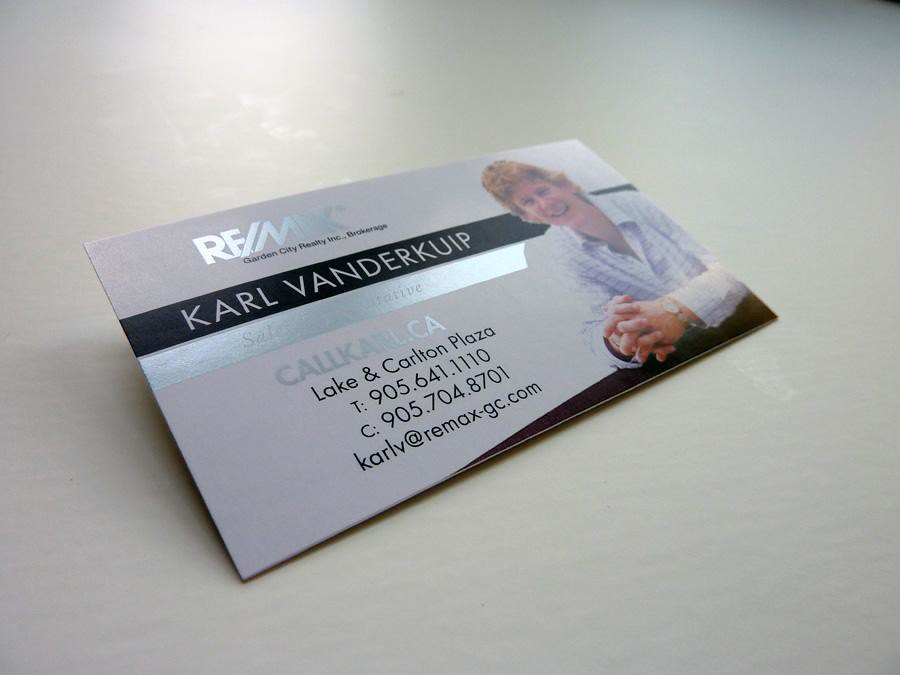 Business Card with Metallic Silver Ink