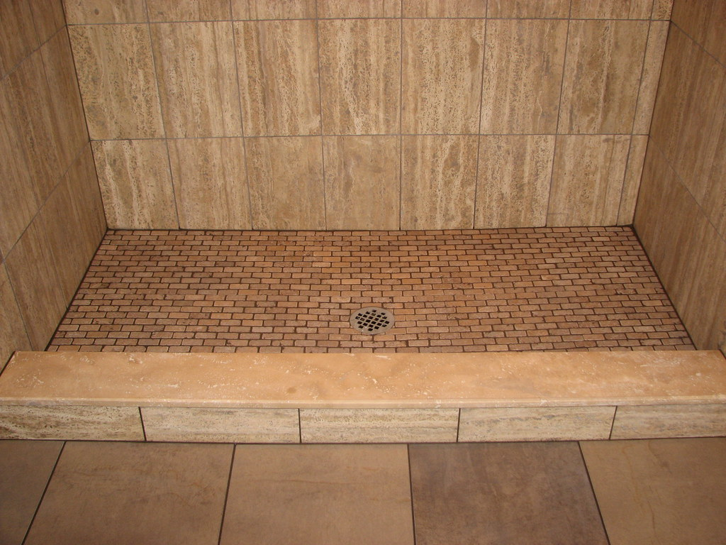 Travertine Tile Stall Shower With Marble Sill And Traverti Flickr