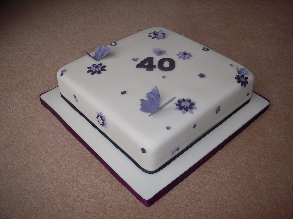40th Birthday Cake Ivory With Purple Flowers And Butterfl
