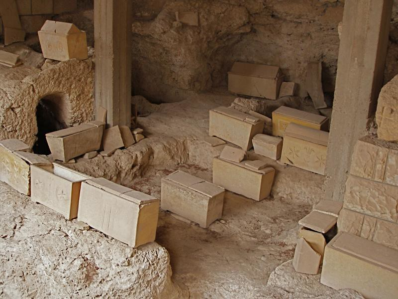 About >> Church of Dominus Flevit | Ossuaries in tomb complex at ...