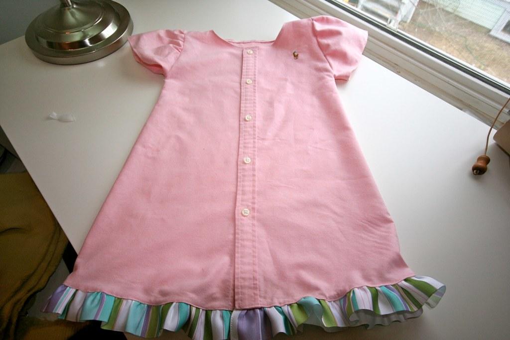 Make a girl s dress from a men s dress shirt for Make a dress shirt