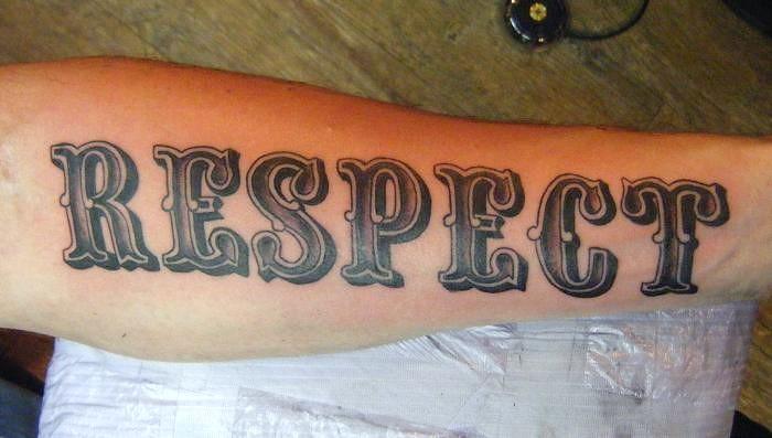 Lettering Respect Tattoo Adornbodyart Com Custom