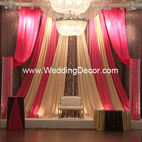Pink And Brown Wedding Ideas: Wedding Backdrop - Fuchsia, Brown & Gold
