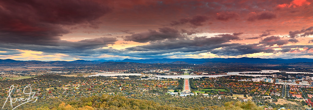 Canberra Panoramic from Mt Ainslie | A cool blustery Good ...