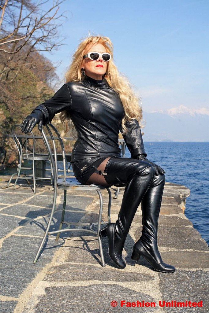 60s black leather thigh high boots by miceli www fashion