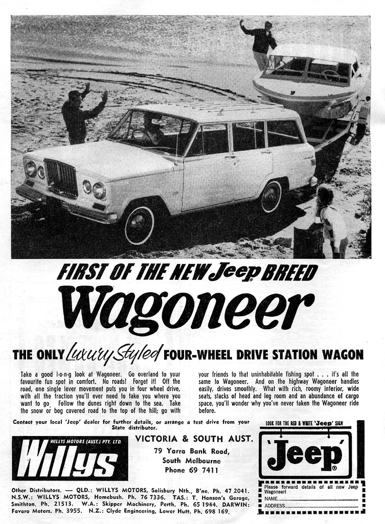 White Jeep Wagoneer >> 1967 Jeep Wagoneer ad | Austarlian magazine ad for the 1967 … | Flickr
