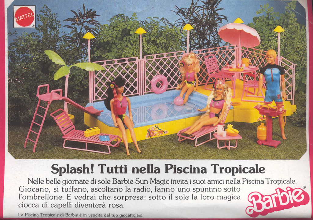 Barbie advertising pubblicit di barbie 1989 piscina t for Piscina di barbie