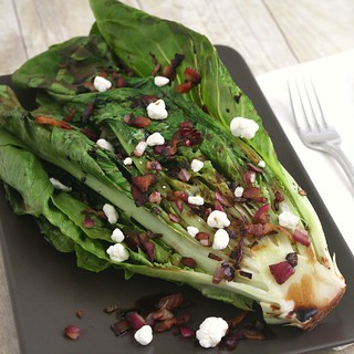 Grilled Romaine with Blue Cheese-Bacon Vinaigrette | by Tracey's Culinary Adventures