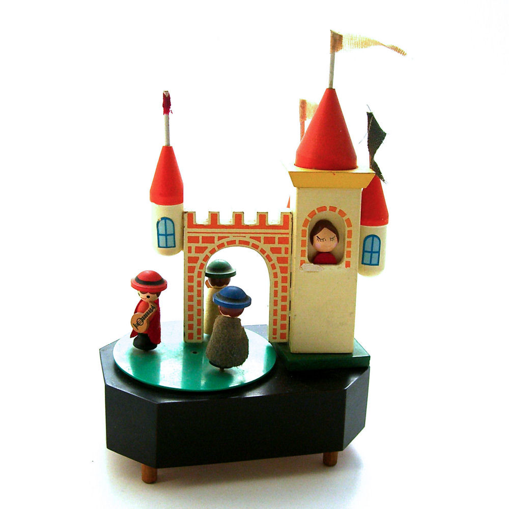 Wooden Musical Toys : Vintage wooden musical toy the princess in castle is
