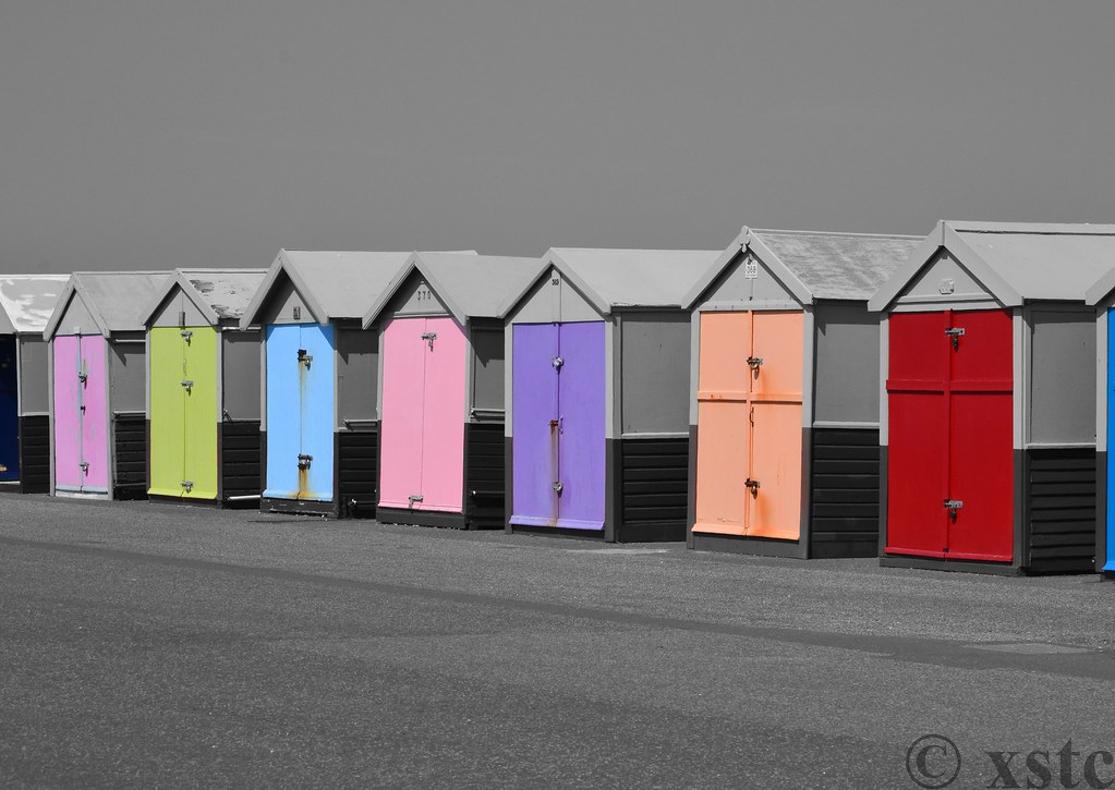 Hove beach huts black and white with colour edited using s flickr