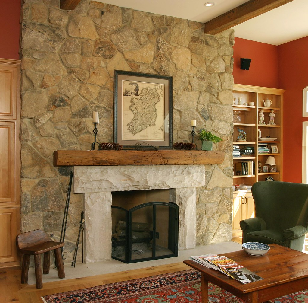 Antique bronze fieldstone this fireplace uses buechel for Field stone fireplace