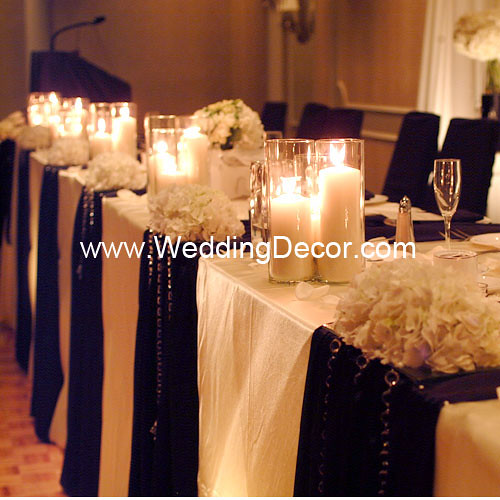 Black And Gold Wedding Reception Decorations: Head Table Decorations - Black & Ivory