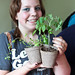 A teenage chef and her tomato and herb plants!