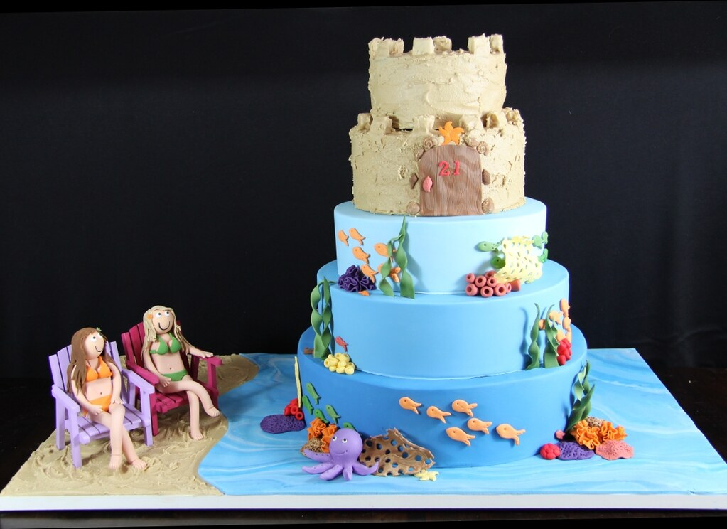 21st Birthday Party At The Beach Image Inspiration of Cake and