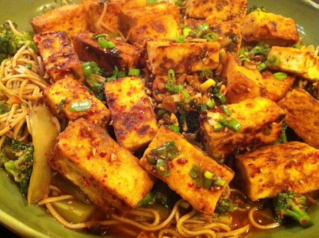 Garlic Tofu Noodles Chili Garlic Tofu With Broccoli And Soba Noodles