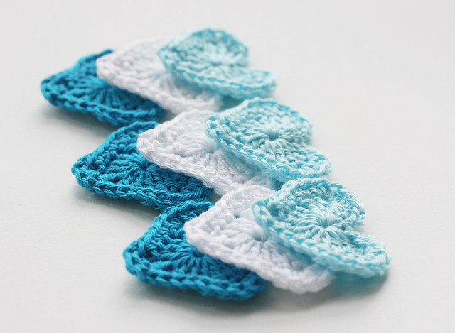 Crochet heart applique like ocean waves aqua blue white Flickr ...