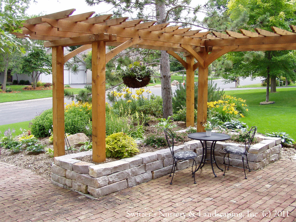 Front Yard Patio, Entry L Shaped Pergola and Chilton Stone ... on L Shaped Patio Ideas id=64314