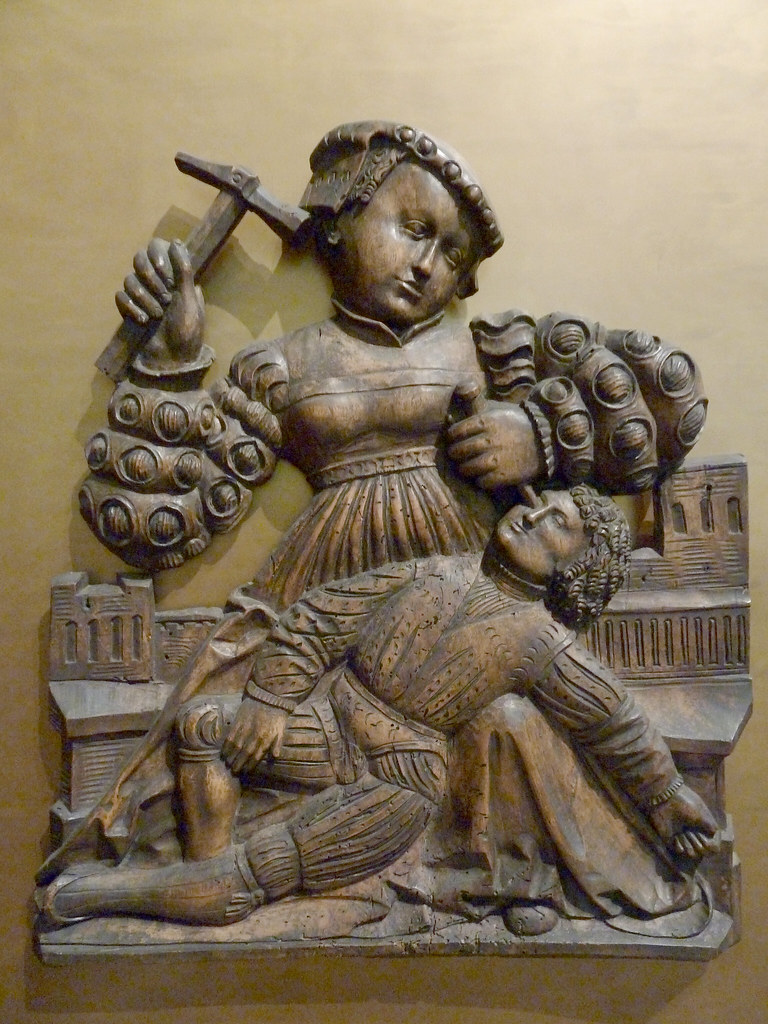 Wood carving relief jael sisera