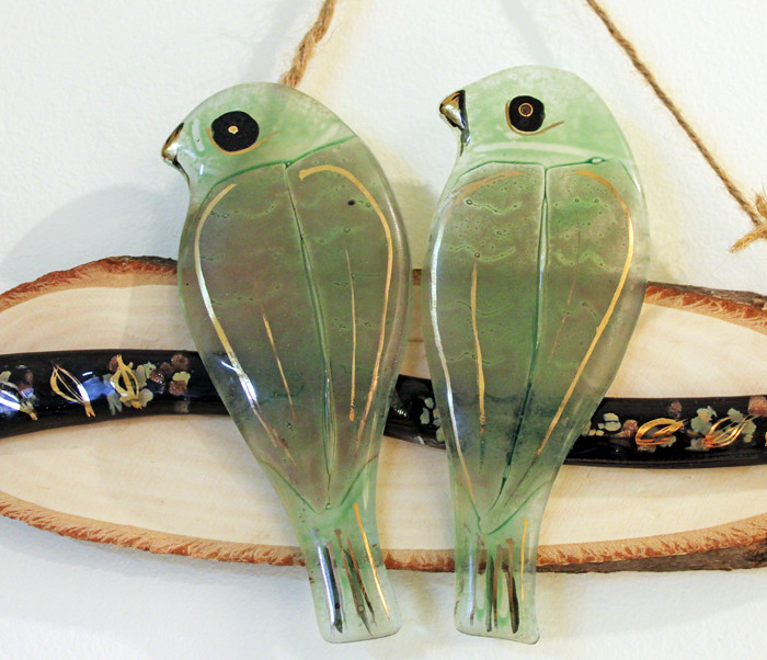 Fused Glass Hanging Wall Art Love Green Birds On A Branc