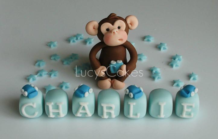 Monkey Christening Birthday Cake Topper Set To Purchase